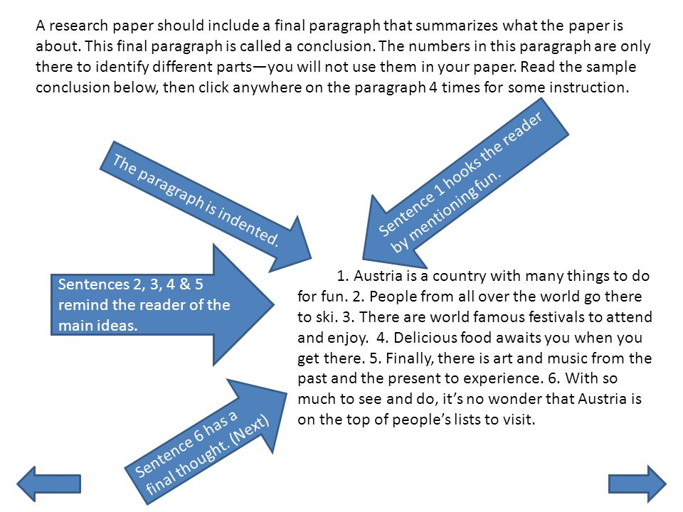 conclusion paragraphs in research papers Writing conclusions to argumentative essays conclusions are just as important as introductions the conclusion closes the essay and tries to close the issue the aim.