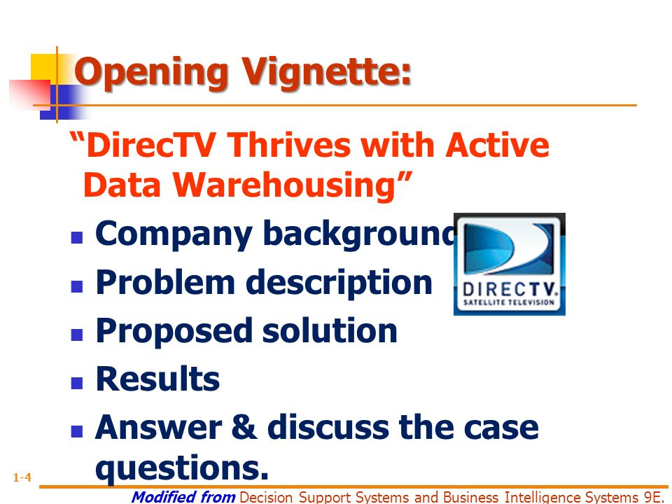 thrives directv with warehousing active data