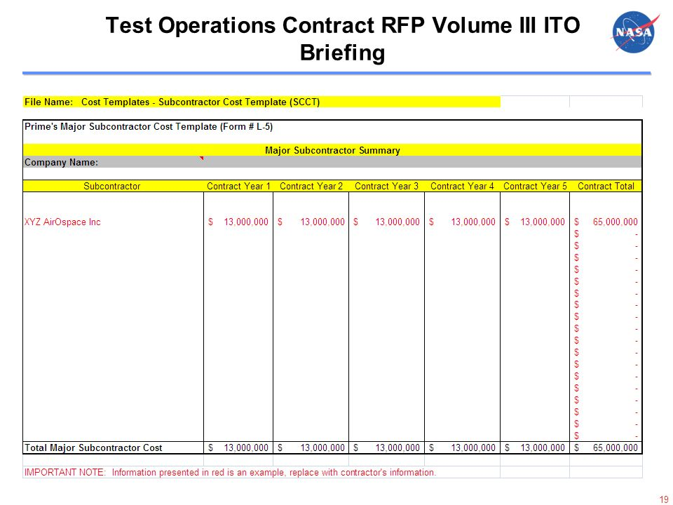 19 19 Test Operations Contract RFP Volume III ITO Briefing