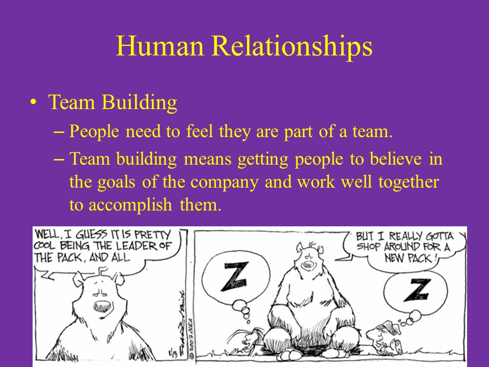 Human Relationships Team Building – People need to feel they are part of a team.