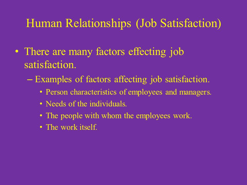 Human Relationships (Job Satisfaction) There are many factors effecting job satisfaction.