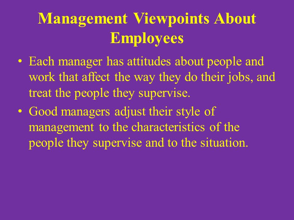 Management Viewpoints About Employees Each manager has attitudes about people and work that affect the way they do their jobs, and treat the people they supervise.