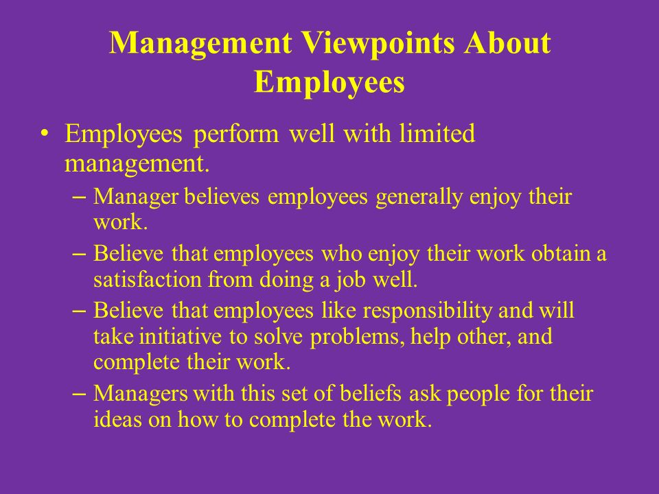 Management Viewpoints About Employees Employees perform well with limited management.