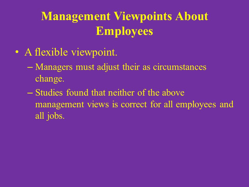 Management Viewpoints About Employees A flexible viewpoint.