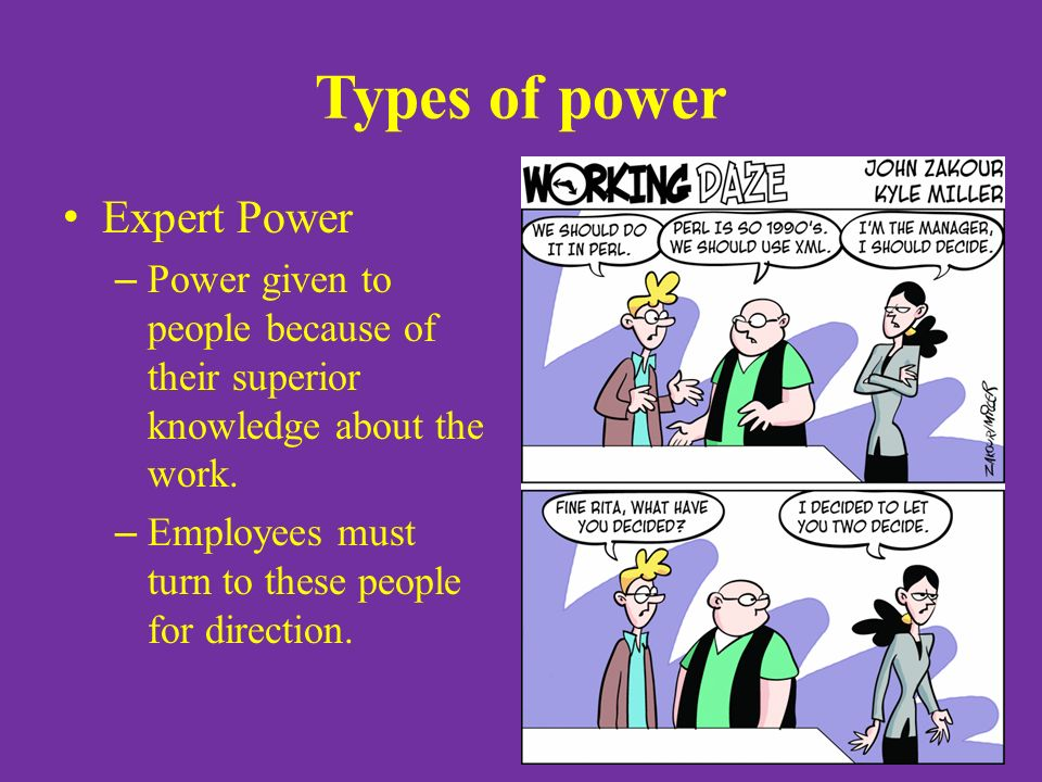 Types of power Expert Power – Power given to people because of their superior knowledge about the work.