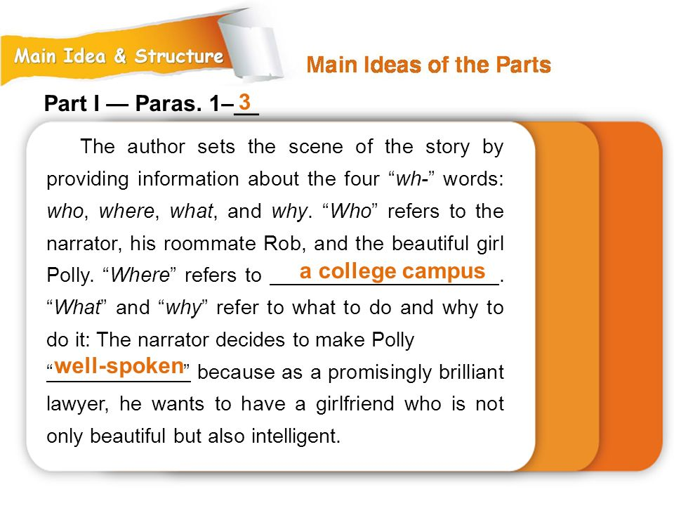 The author sets the scene of the story by providing information about the four wh- words: who, where, what, and why.