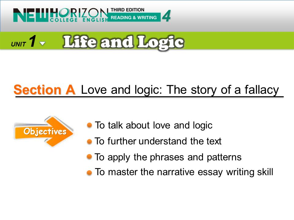 Section A 4 1 UNIT Love and logic: The story of a fallacy Objectives To talk about love and logic To further understand the text To apply the phrases and patterns To master the narrative essay writing skill