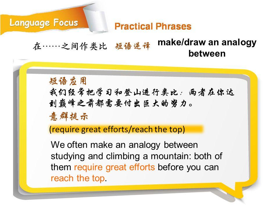 在……之间作类比 (require great efforts/reach the top) We often make an analogy between studying and climbing a mountain: both of them require great efforts before you can reach the top.