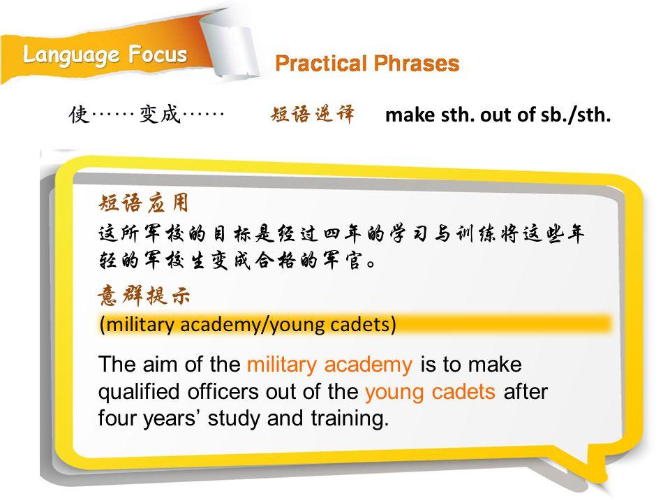 使……变成…… (military academy/young cadets) The aim of the military academy is to make qualified officers out of the young cadets after four years' study and training.