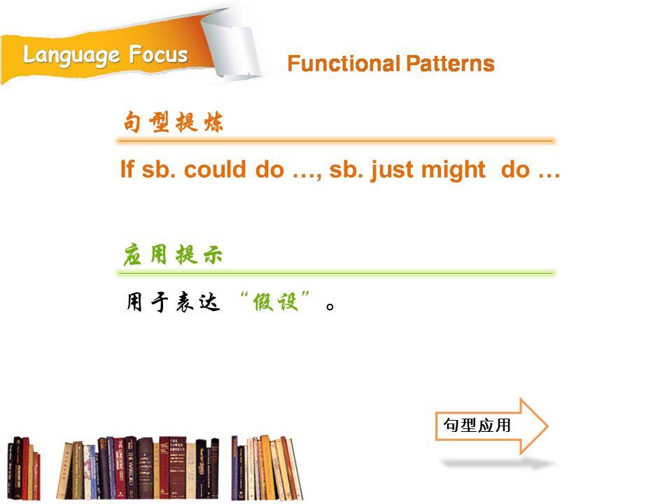 If sb. could do …, sb. just might do … 句型提炼 应用提示 用于表达 假设 。 句型应用