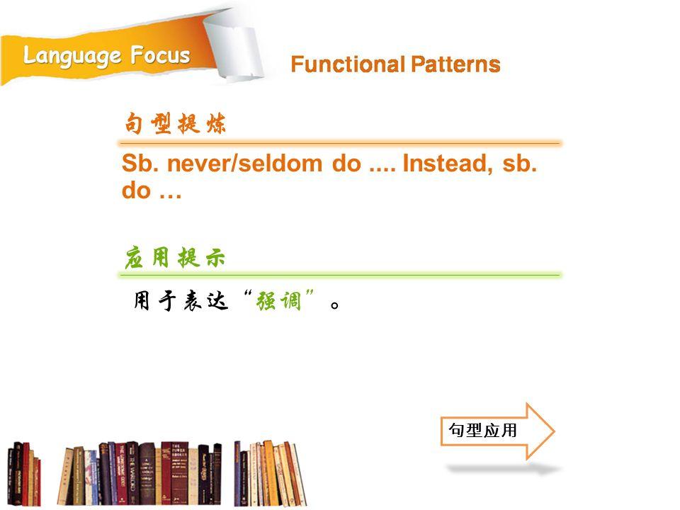 Sb. never/seldom do.... Instead, sb. do … 句型提炼 应用提示 用于表达 强调 。 句型应用