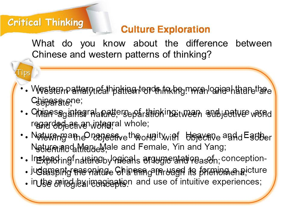 What do you know about the difference between Chinese and western patterns of thinking.