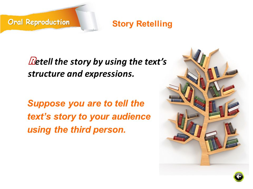 Suppose you are to tell the text's story to your audience using the third person.