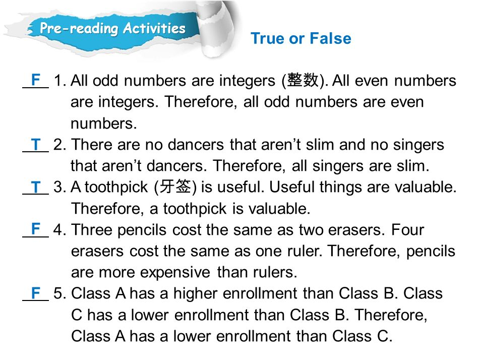 1.All odd numbers are integers ( 整数 ). All even numbers are integers.