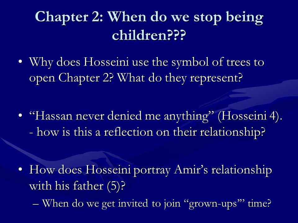 chapter 56 kite runner essay The kite runner chapters 1-9 what did amir's father build during amir's early childhood motifs in kite runner essay sample the things they carried.