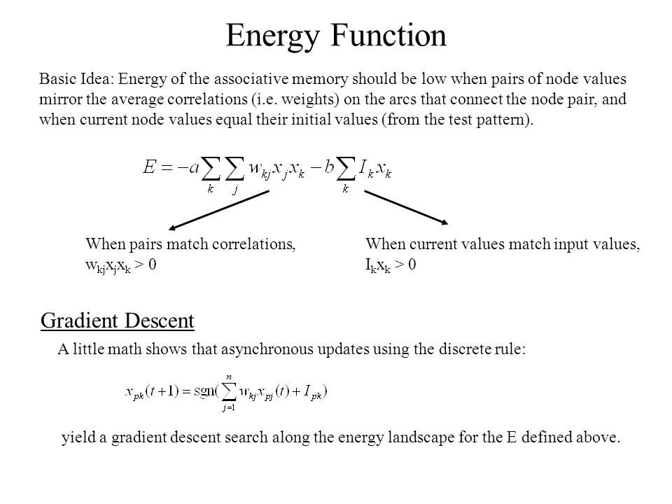 Energy Function Basic Idea: Energy of the associative memory should be low when pairs of node values mirror the average correlations (i.e.
