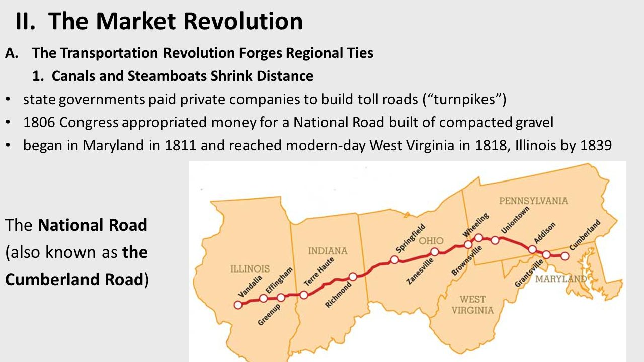 II. The Market Revolution A.The Transportation Revolution Forges Regional Ties 1.