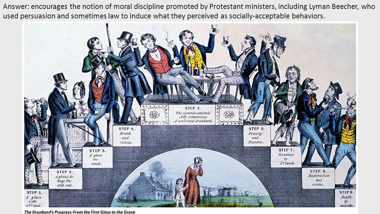 Answer: encourages the notion of moral discipline promoted by Protestant ministers, including Lyman Beecher, who used persuasion and sometimes law to induce what they perceived as socially-acceptable behaviors.
