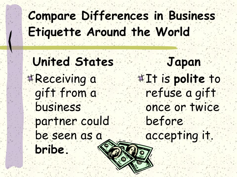Compare Differences in Business Etiquette Around the World United States Receiving a gift from a business partner could be seen as a bribe.