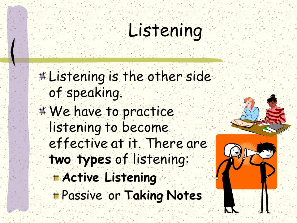 Listening Listening is the other side of speaking.