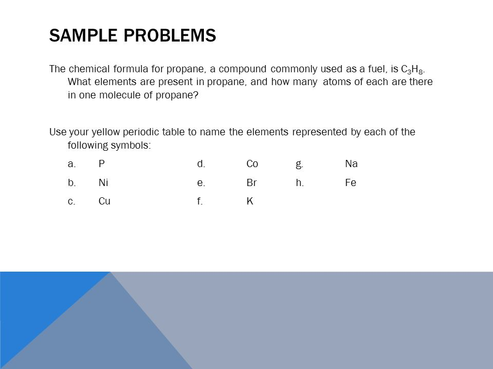 Chem com unit 1a building blocks of chemistry properties sample problems the chemical formula for propane a compound commonly used as a fuel urtaz Images