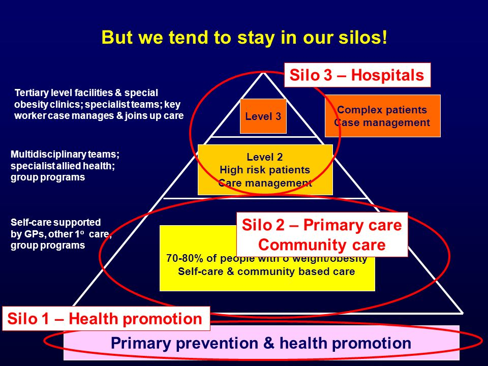 Level 1 70-80% of people with o'weight/obesity Self-care & community based care Level 2 High risk patients Care management Level 3 But we tend to stay in our silos.