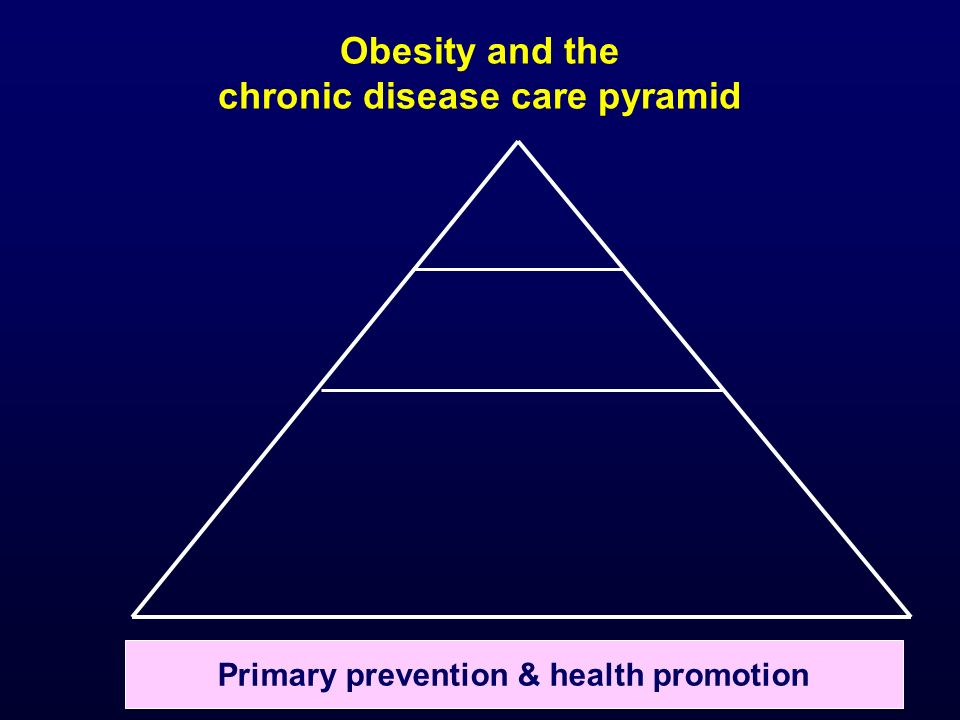 Obesity and the chronic disease care pyramid Primary prevention & health promotion