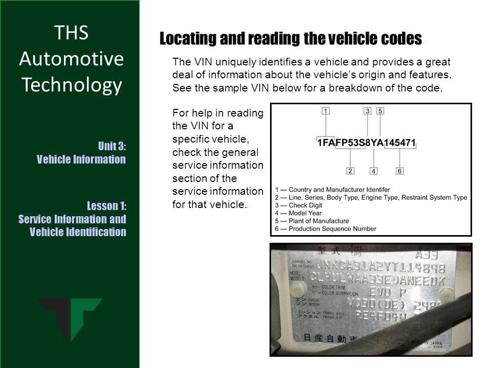 THS Automotive Technology Unit 3: Vehicle Information Lesson 1 ...