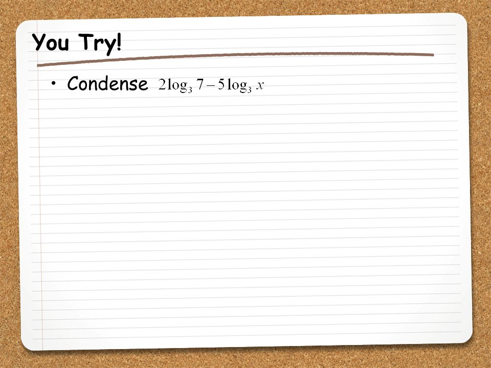 You Try! Condense