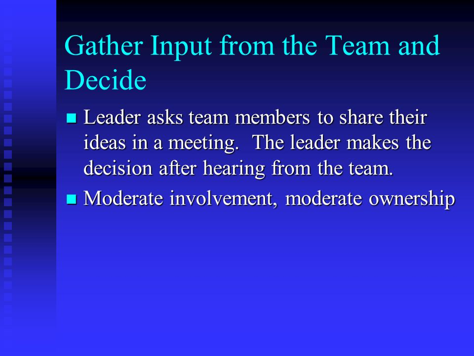 Gather Input from the Team and Decide Leader asks team members to share their ideas in a meeting.