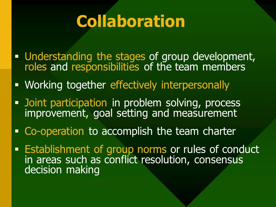 Collaboration  Understanding the stages of group development, roles and responsibilities of the team members  Working together effectively interpersonally  Joint participation in problem solving, process improvement, goal setting and measurement  Co-operation to accomplish the team charter  Establishment of group norms or rules of conduct in areas such as conflict resolution, consensus decision making