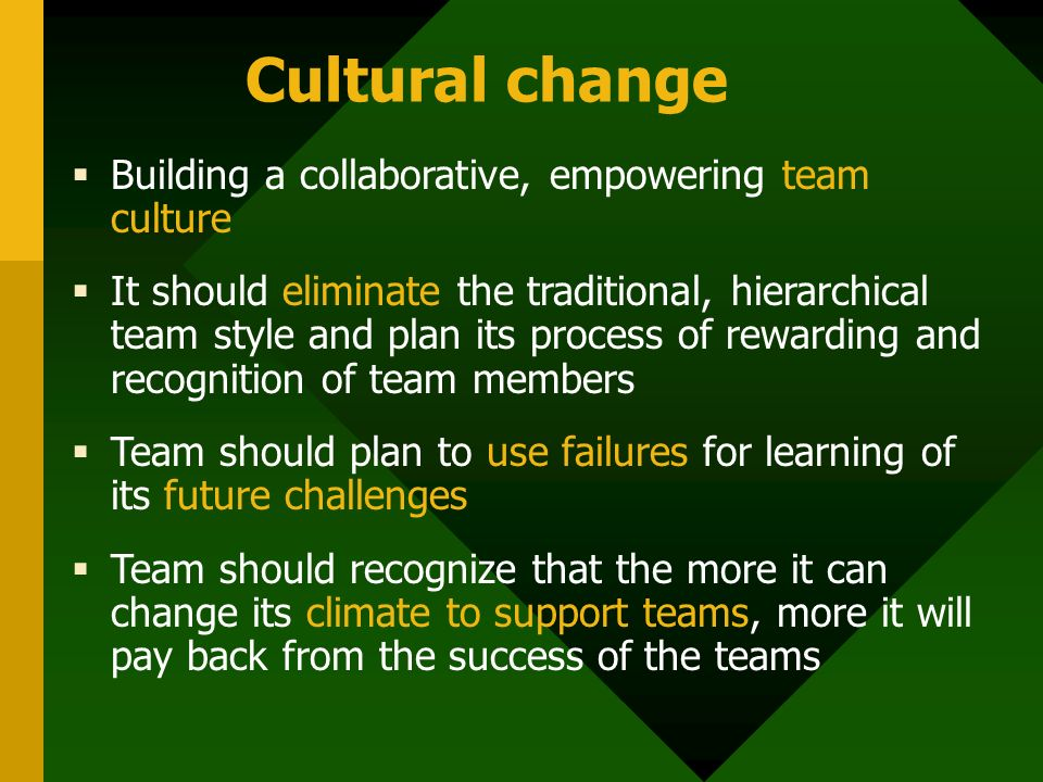 Cultural change  Building a collaborative, empowering team culture  It should eliminate the traditional, hierarchical team style and plan its process of rewarding and recognition of team members  Team should plan to use failures for learning of its future challenges  Team should recognize that the more it can change its climate to support teams, more it will pay back from the success of the teams