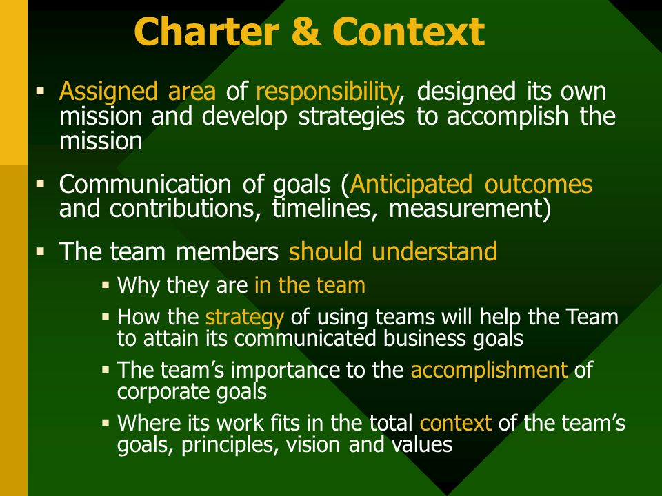 Charter & Context  Assigned area of responsibility, designed its own mission and develop strategies to accomplish the mission  Communication of goal