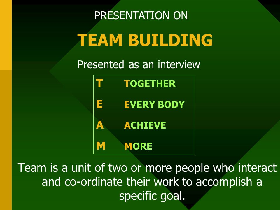 PRESENTATION ON TEAM BUILDING Presented as an interview T TOGETHER E EVERY BODY A ACHIEVE M MORE Team is a unit of two or more people who interact and co-ordinate their work to accomplish a specific goal.