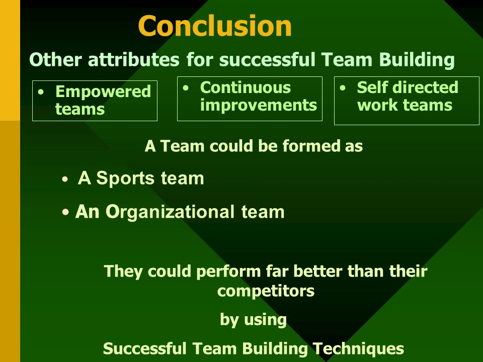 Conclusion Other attributes for successful Team Building Empowered teams A Team could be formed as A Sports team An O rganizational team They could perform far better than their competitors by using Successful Team Building Techniques Continuous improvements Self directed work teams