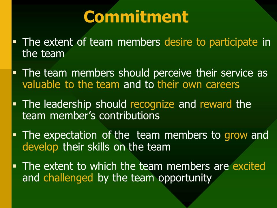 Commitment  The extent of team members desire to participate in the team  The team members should perceive their service as valuable to the team and to their own careers  The leadership should recognize and reward the team member's contributions  The expectation of the team members to grow and develop their skills on the team  The extent to which the team members are excited and challenged by the team opportunity