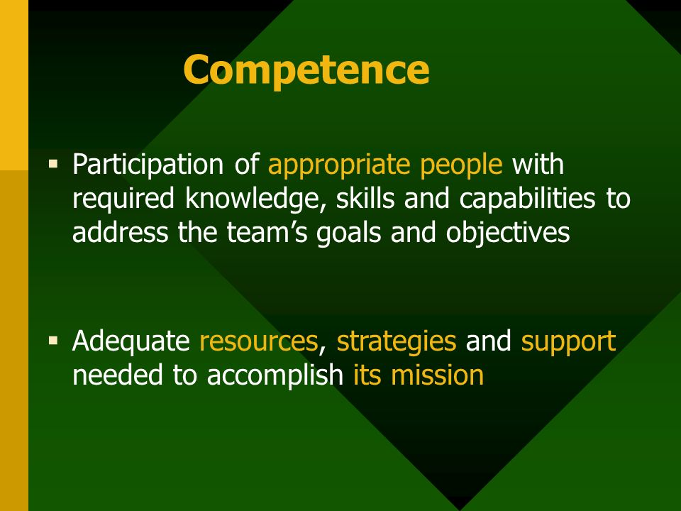 Competence  Participation of appropriate people with required knowledge, skills and capabilities to address the team's goals and objectives  Adequat