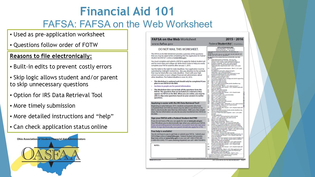Financial Aid 101 Financial Aid Information for The webinar will – Fafsa on the Web Worksheet