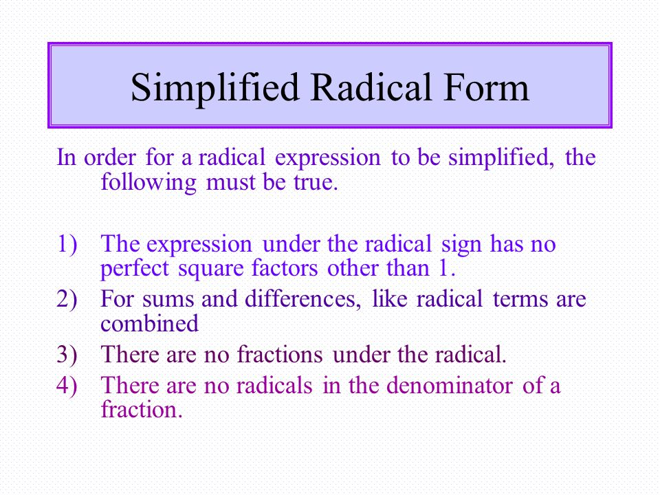 Simplified Radical Form Objective 1Describe simplified Radical – Simplest Radical Form Worksheet