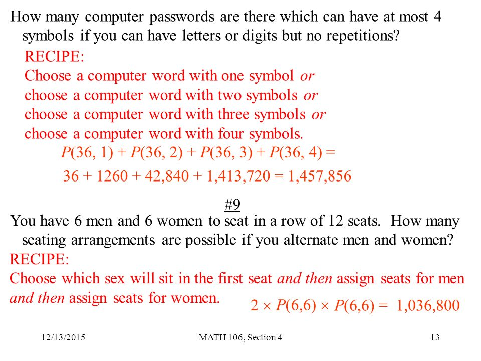 12132015math 106 Section 41 Section 4 Permutations Questions