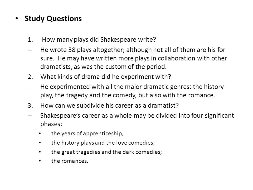 Shakespeare questions!?