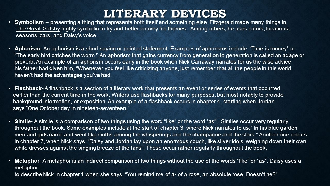 Year 11 literature exam review the great gatsby reasons it is literary devices symbolism presenting a thing that represents both itself and something else buycottarizona Choice Image