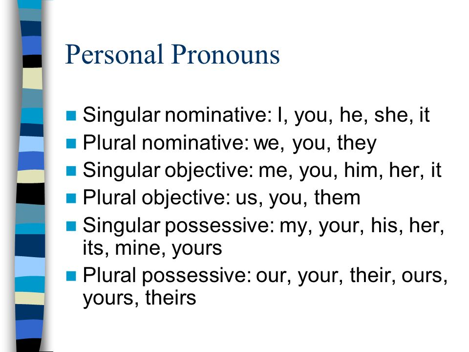 Personal Pronouns Singular nominative: I, you, he, she, it Plural nominative: we, you, they Singular objective: me, you, him, her, it Plural objective: us, you, them Singular possessive: my, your, his, her, its, mine, yours Plural possessive: our, your, their, ours, yours, theirs
