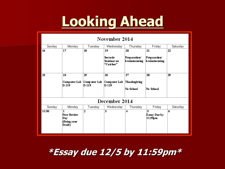 do now take out something to write and your  3 looking ahead essay due 12 5 by 11 59pm