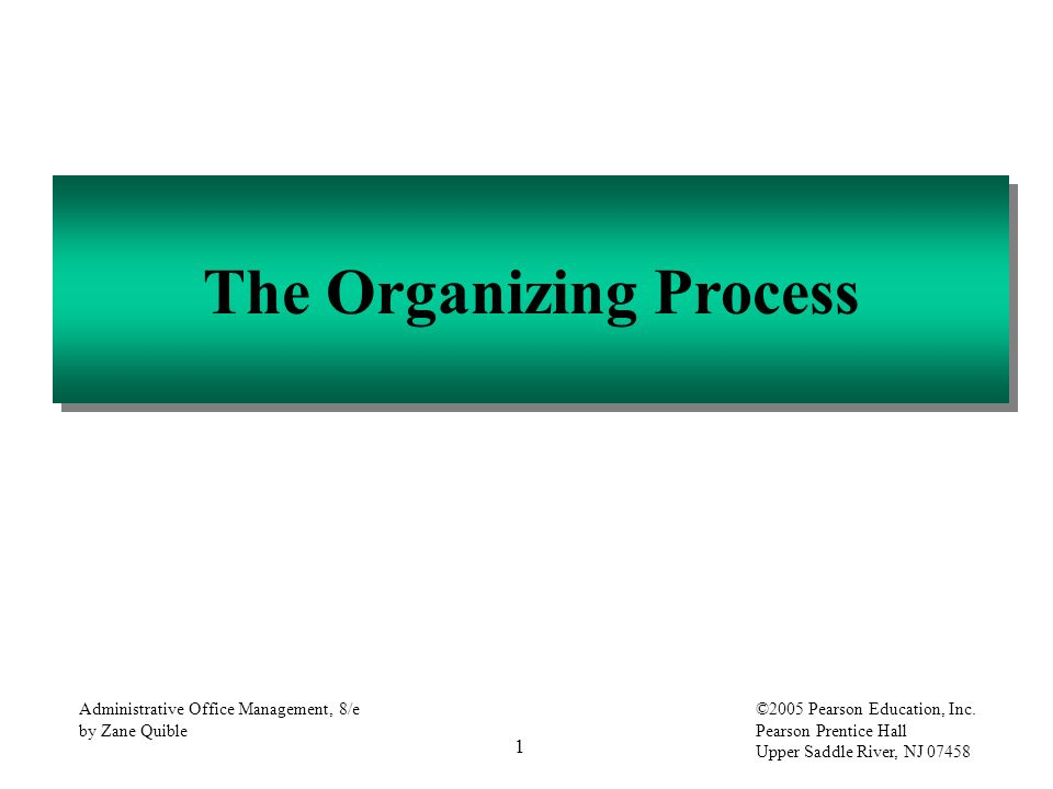 1 Administrative Office Management, 8/e by Zane Quible ©2005 Pearson Education, Inc. Pearson Prentice Hall Upper Saddle River, NJ 07458 The Organizing