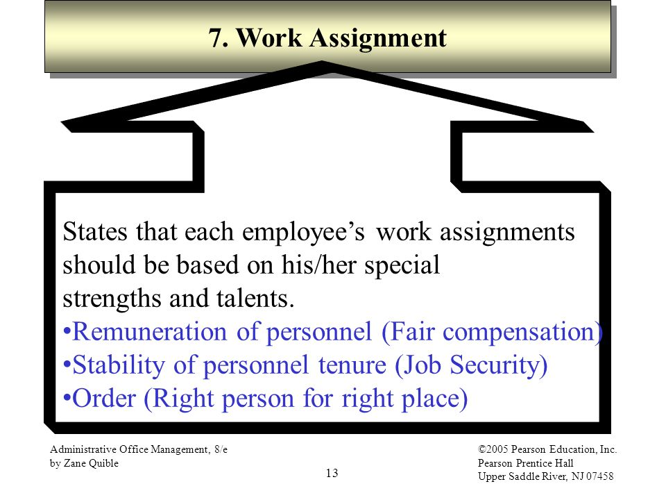 13 Administrative Office Management, 8/e by Zane Quible ©2005 Pearson Education, Inc. Pearson Prentice Hall Upper Saddle River, NJ 07458 7. Work Assig