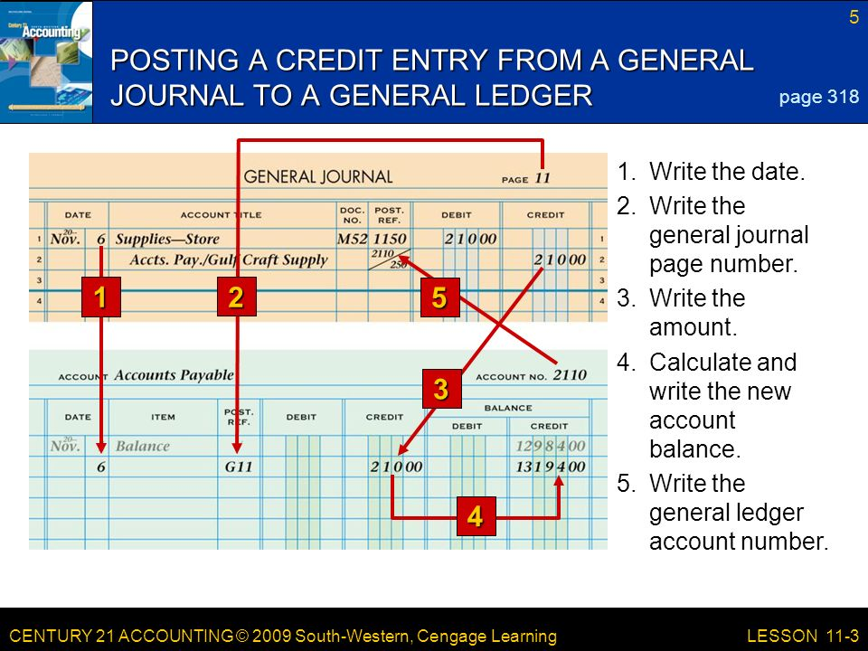 CENTURY 21 ACCOUNTING © 2009 South-Western, Cengage Learning 5 LESSON Write the general ledger account number.