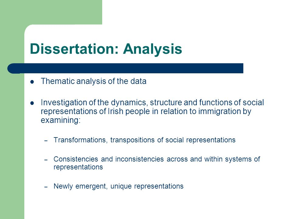Data Analysis Dissertation
