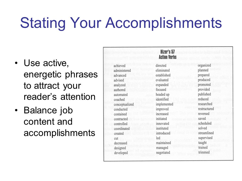 accomplishments for a resumes