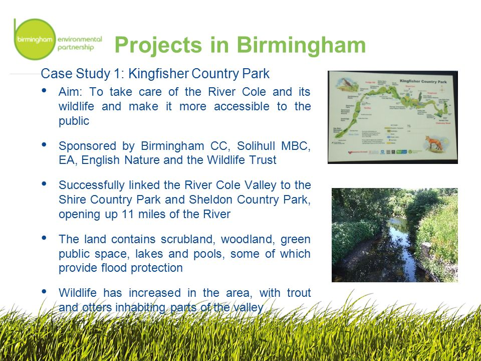 Projects in Birmingham Case Study 1: Kingfisher Country Park Aim: To take care of the River Cole and its wildlife and make it more accessible to the public Sponsored by Birmingham CC, Solihull MBC, EA, English Nature and the Wildlife Trust Successfully linked the River Cole Valley to the Shire Country Park and Sheldon Country Park, opening up 11 miles of the River The land contains scrubland, woodland, green public space, lakes and pools, some of which provide flood protection Wildlife has increased in the area, with trout and otters inhabiting parts of the valley